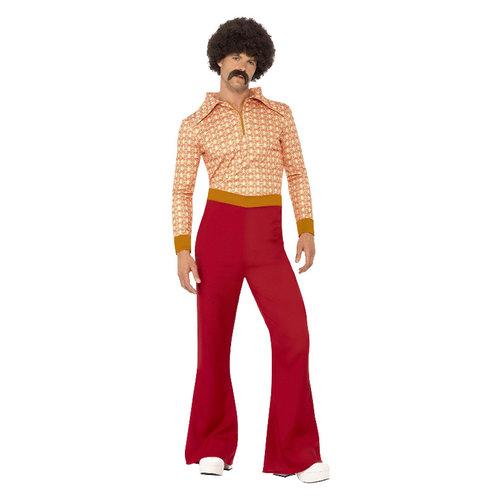 Smiffys Authentieke Jaren '70 Kerel Kostuum - Rood