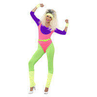 Smiffys 80s Werken Kostuum - Met Een Jumpsuit - Neon