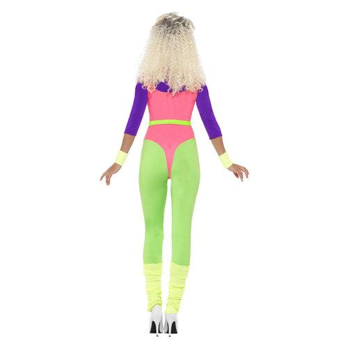 Smiffys 80s Work Out Kostuum -  Multicolor Neon