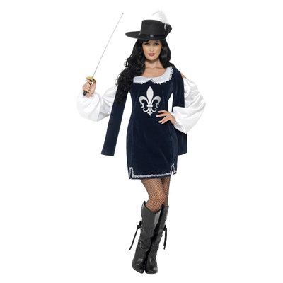 Musketier Dames Kostuum - Blauw