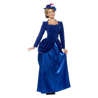 Deluxe Victoriaans Dames Kostuum - Blauw