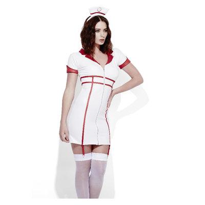 Fever Rollenspel Verpleegkundige Wetlook Kostuum - Wit