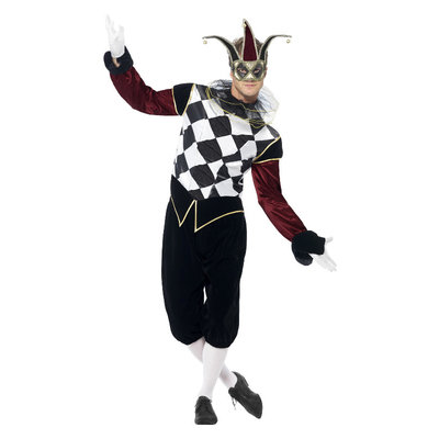 Gotische Venetiaanse Harlekijn Kostuum - Zwart