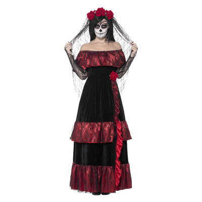 Dag Van De Doden Bruid Kostuum - Zwart