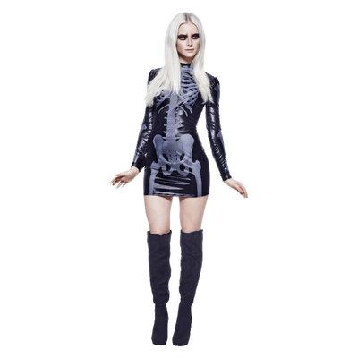 Fever Miss Whiplash Skelet Kostuum - Zwart