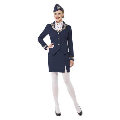 Stewardes  Kostuum - Blauw