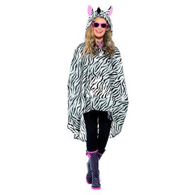 Zebra Party Poncho - Zwart-wit