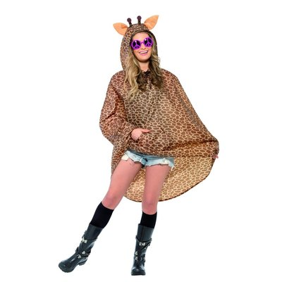 Giraffe Party Poncho - Bruin