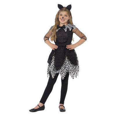 Deluxe Middernacht Kat Kostuum - Zwart
