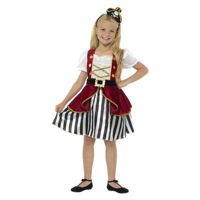 Deluxe Piraat Meisje Kostuum - Rood En Zwart