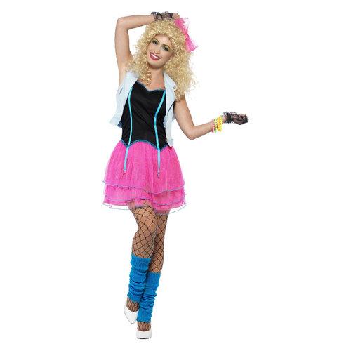 Smiffys 80s Wild Meisje Kostuum - Roze