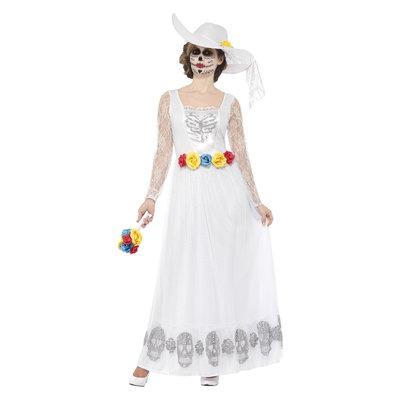 Dag Van De Doden Skelet Bruid Kostuum - Wit
