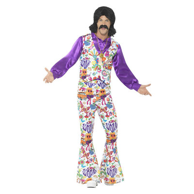 60s Groovy Hippie Kostuum - Veelkleurig