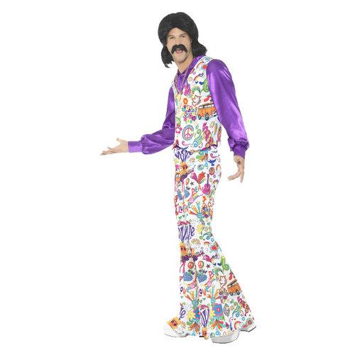 Smiffys 60s Groovy Hippie Kostuum - Veelkleurig