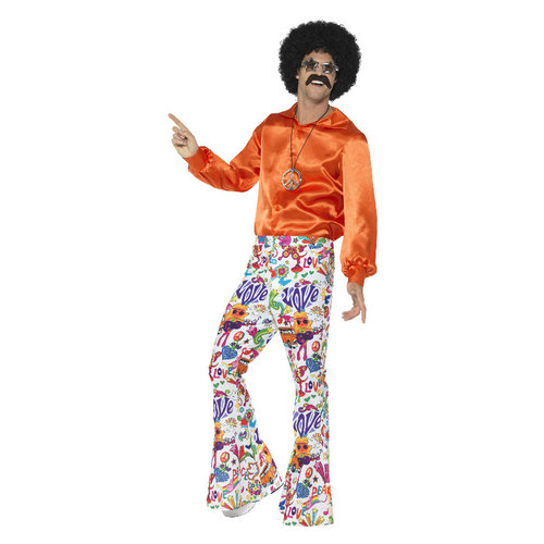 Smiffys 60s Groovy Flared Broek - Mannen - Multi-colored