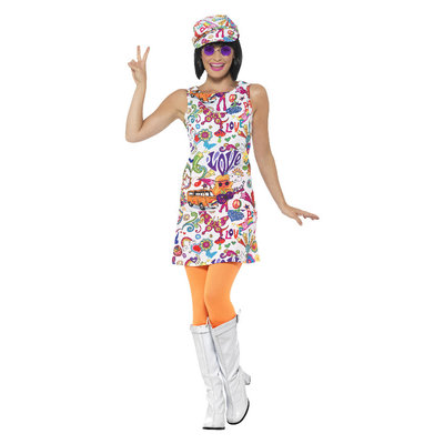 60's Groovy Chick Kostuum - Multi-gekleurd
