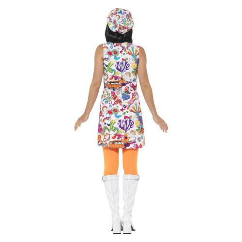 Smiffys 60's Groovy Chick Kostuum - Multi-gekleurd