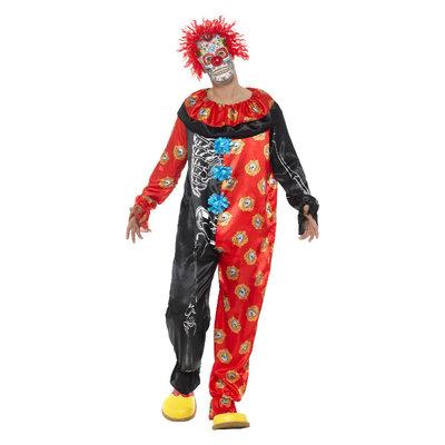 Deluxe Dag Van De Doden Clown Kostuum - Multi-color