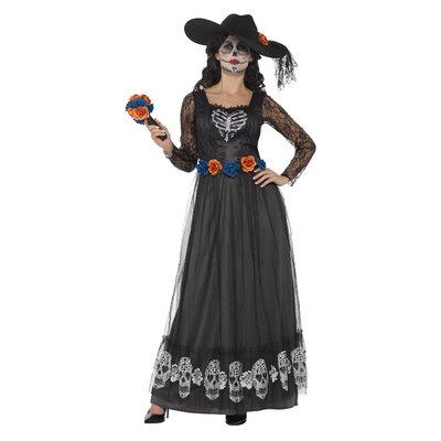 Dag Van De Doden Skelet Bruid Kostuum - Zwart