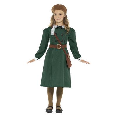 Ww2 Evacué Meisje Kostuum - Groen