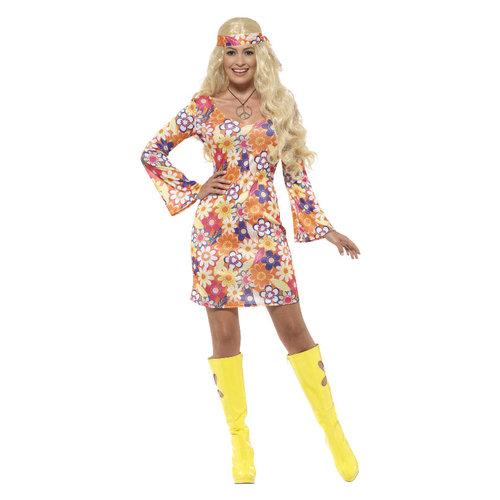 Smiffys Bloem Hippie Kostuum - Veelkleurig
