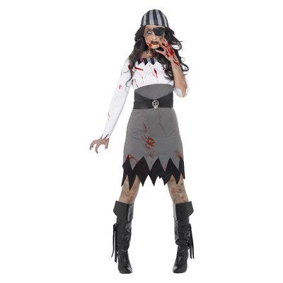 Zombie Piraat Dame Kostuum - Grijs