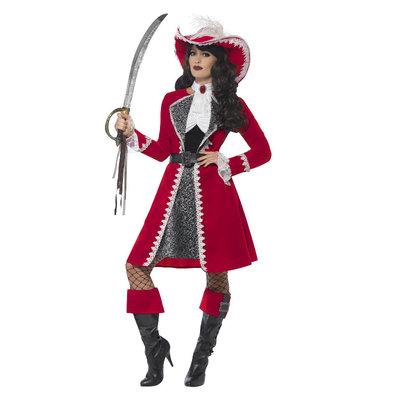 Deluxe Authentieke Dame Kapitein Kostuum - Rood