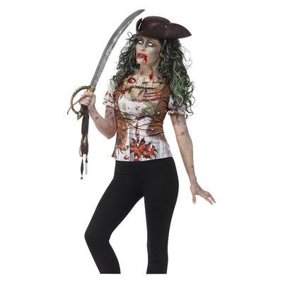 Zombie Piraat Wench T-shirt - Groen
