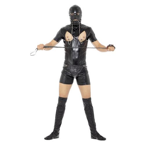 Smiffys Bondage Gimp Kostuum Met Bodysuit - Zwart