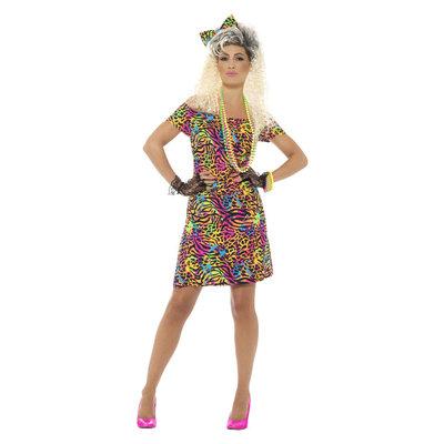 80s Feestbeest jurk - Neon