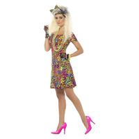 Smiffys 80s Feestbeest jurk - Neon