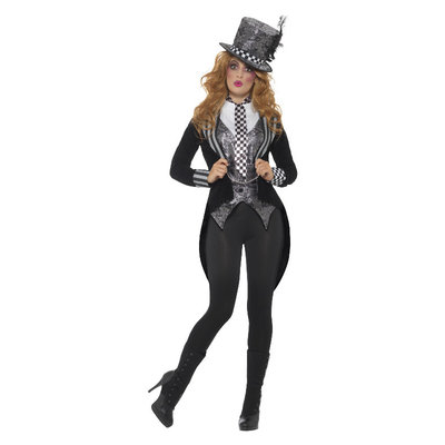 Deluxe Donker Miss Hoedenmaker Kostuum - Zwart
