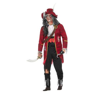 Deluxe Zombie Piratenkapitein Kostuum - Latex - Rood