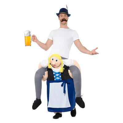 Meeliften Beiers Bier Meisje Kostuum - Blauw