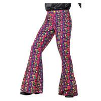 Smiffys 60s Psychedelische Hippie Flared Broek - Mannen - Multi-color
