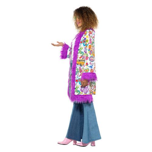 Smiffys 60s Groovy Hippie Jas - Veelkleurige