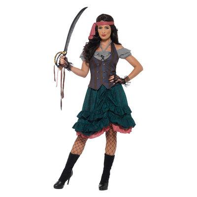 Deluxe Piraat Wench Kostuum - Veelkleurig