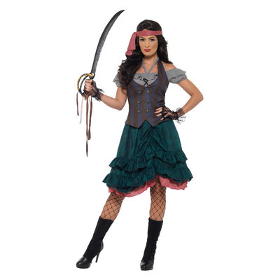 Deluxe Piraat Wench Kostuum - Veelkleurige