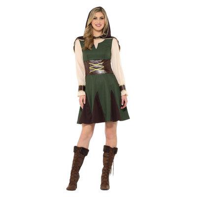 Robin Hood Dame Kostuum - Groen En Bruin