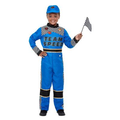 Formule 1 Coureur Kostuum Blauw Kind