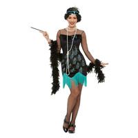Smiffys 20s Pauw Flapper Kostuum - Groen En Blauw