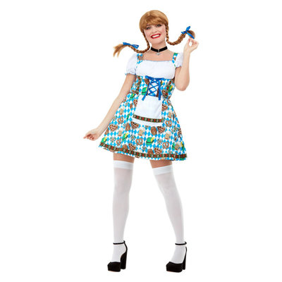 Oktoberfest Bier Maiden Kostuum - Blauw