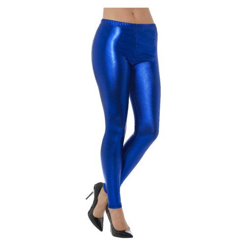 Smiffys 80s Metallic Disco Legging - Blue