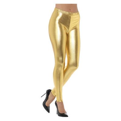 80s Metallic Disco Leggings - Goud