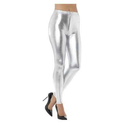 80s Metallic Disco Legging - Zilver