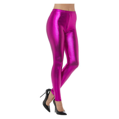 80s Metallic Disco Legging - Roze