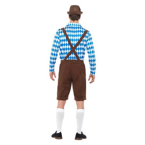 Smiffys Beiers Bier Man Kostuum - Blauw En Bruin