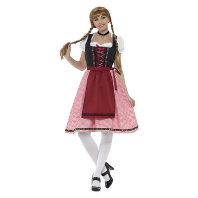 Beiers Taverne Meisjekostuum - Rood En Zwart