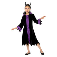 Smiffys Boze Koningin Kostuum - Zwart En Paars
