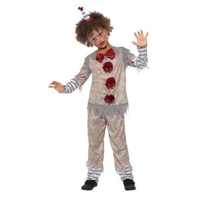 Vintage Clown Jongen Kostuum - Grijs En Rood